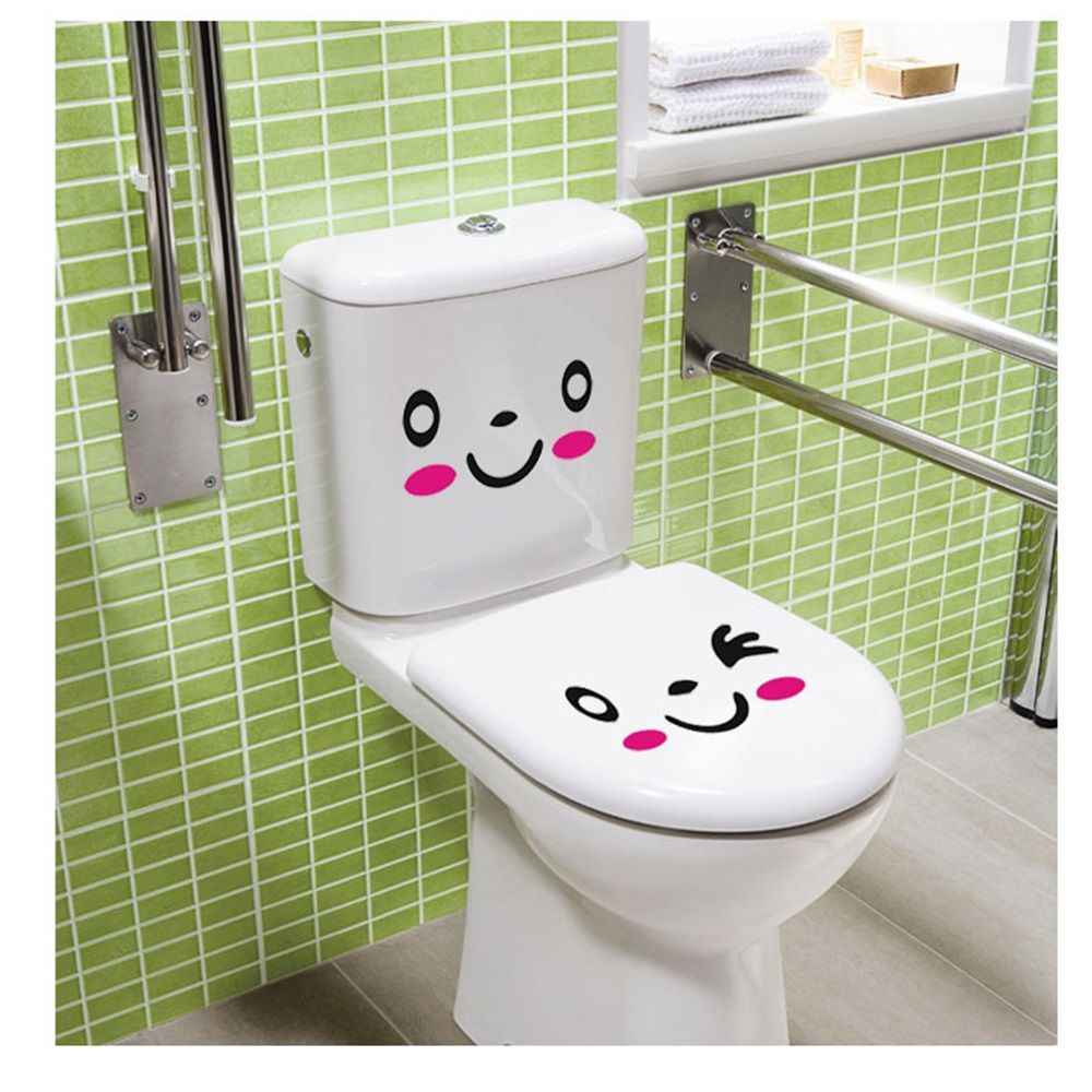 3 sztuk/zestaw DIY Smile Face Mural Stikers naklejki do toalety nalepka do łazienki Vinyl Mural Home Decor naklejka ścienna 20*9.8cm
