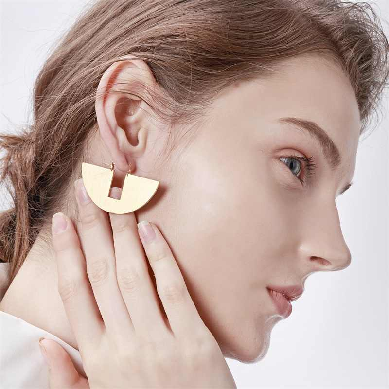 Geometic Semicircle Stud Earrings For Women Round Matte Gold Color Stainless Steel Ladies Aretes De Mujer Elegant Aretes Jewelry