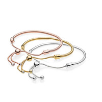 Classic 925 Sterling Silver Sliding Bracelet Snake chain Fit Charm Bracelet DIY Jewelry Rose Gold Bracelet for women