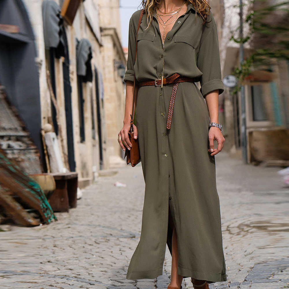 Spring/summer fashion loose long sleeve dress with belt casual commuter office shirt temperament dress 2019