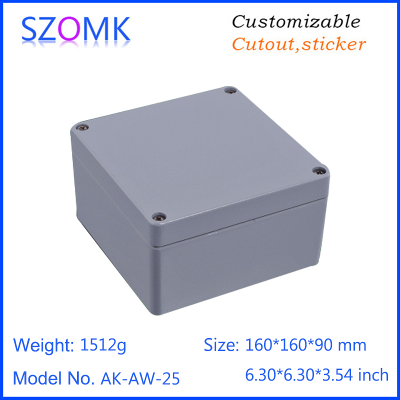 1 piece, 160*160*90mm die cast aluminum waterproof device housing for pcb design IP66 waterproof enclosure box цена
