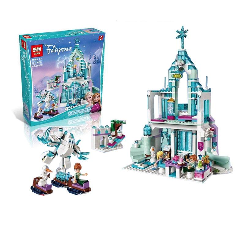 25002 Model building kits compatible with lego Girl friends 41148 Elsa`s Magical Ice Castle 3D bricks figure toys for children