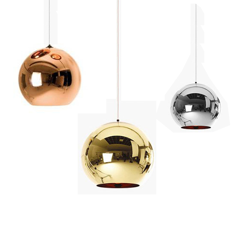 Copper/Sliver/Gold Shade Modern Mirror Chandelier Light indoor Home Lighting E27 Bulb LED Pendant Lamp Glass Ball