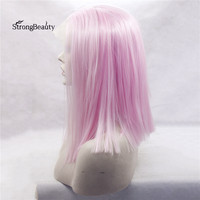 Strongbeauty Short Pink Straight Bob Wig Synthetic Heat Resistant Silk Straight Pink Lace Front Wigs for Black Women