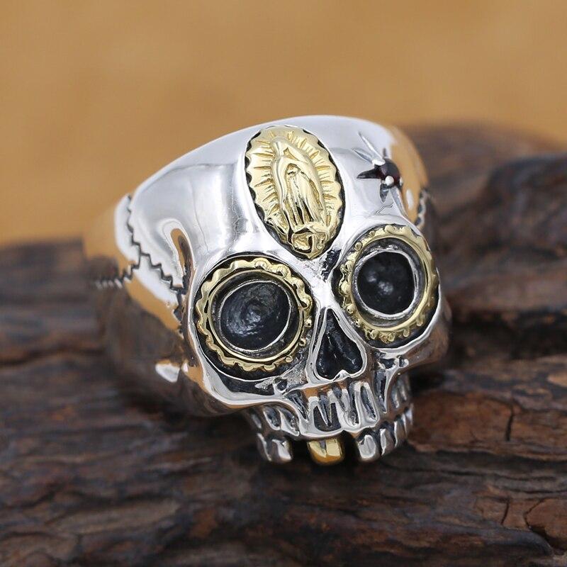 Handmade 925 silver skull ring vintage sterling silver skeleton man ring silver punk ring man jewery gift цена 2017