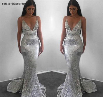 Silver Gray Sequined Evening Dresses Mermaid Formal Women Holiday Wear Celebrity Party Gowns Plus Size Custom Made
