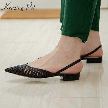 Krazing pot microfiber natural leather movie star streetwear low heels Korean version pointed toe slingback elegant sandals L36