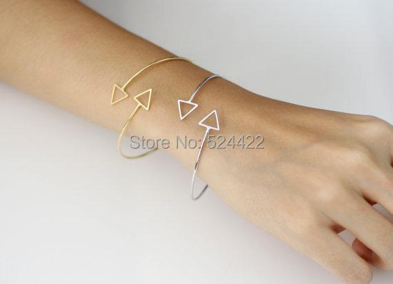 Adjustable Triangle Bangle Bracelets,Silver Bracelet For women.jpg