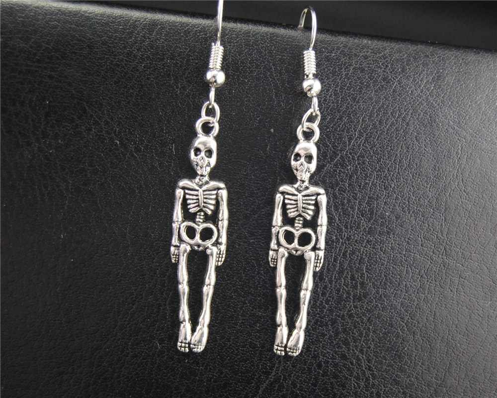 1 par (2 pcs) Tibetano Halloween Prata Skeleton Dangle Brincos Handmade DIY Jóias E582 E583