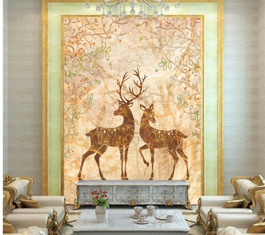 Custom3D murals,The deer forest marble wall wallpaper,restaurant dining room living room TV sofa wall bedroom papel de parede custom 3d murals cartoon wolf papel de parede hotel restaurant coffee shop living room sofa tv wall children bedroom wallpaper
