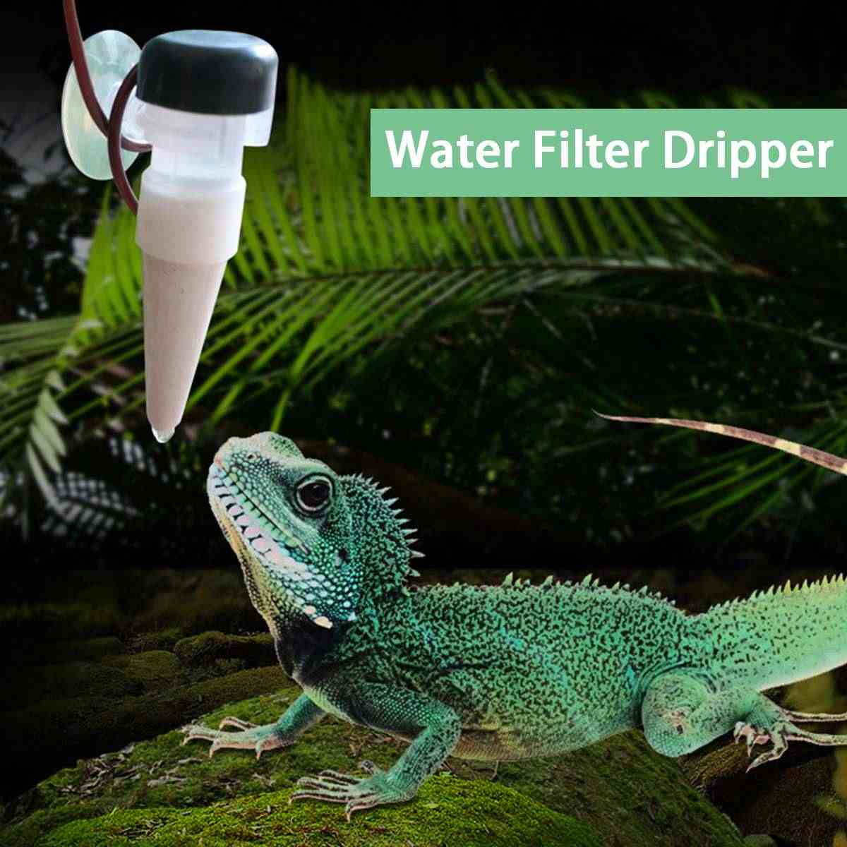 1.3L Reptil Air Filter Dripper Drip Sistem Air Mancur Minum Dispenser untuk Bunglon Kadal Gecko Horned Frogs Humidifier