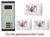 Home Apartment 3 Unit Intercom Entry System Wired Video Door Phone Audio Visual
