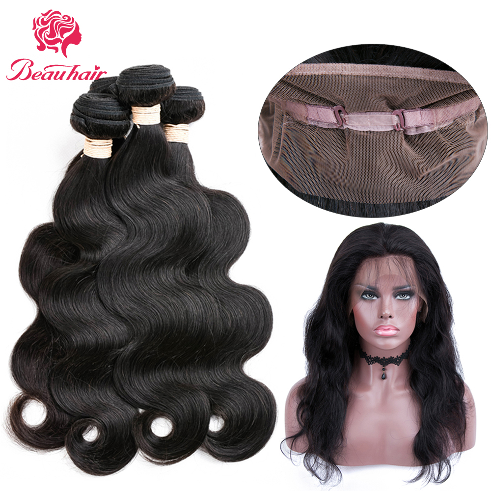 BeauHair 360 Lace Frontal Closure With Bundle Peruvian Body Wave Bundle 2/3 Human Hair Bundles Non Remy Hair Extension