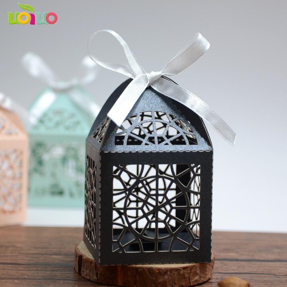 50 шт. Happy Halloween день лазерная резка настроить размер черный паутина кружева коробка конфет модели с дешевой цене