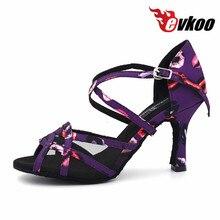 Evkoodance Zapatos De Baile All Size Pink Purple Color 8.3cm Heel Women Professional Latin Salsa Shoes for girls Evkoo-455