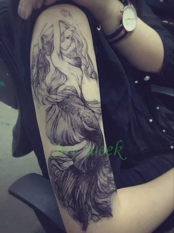 Waterproof Temporary Tattoo Sticker women's full arm large size on back Mermaid tatto stickers flash tatoo fake tattoos for girl 2
