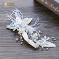 Gorgeous white feather hairgrips flower hair clips pearl forehead girl fascinator bride headpiece wedding accessories rt074