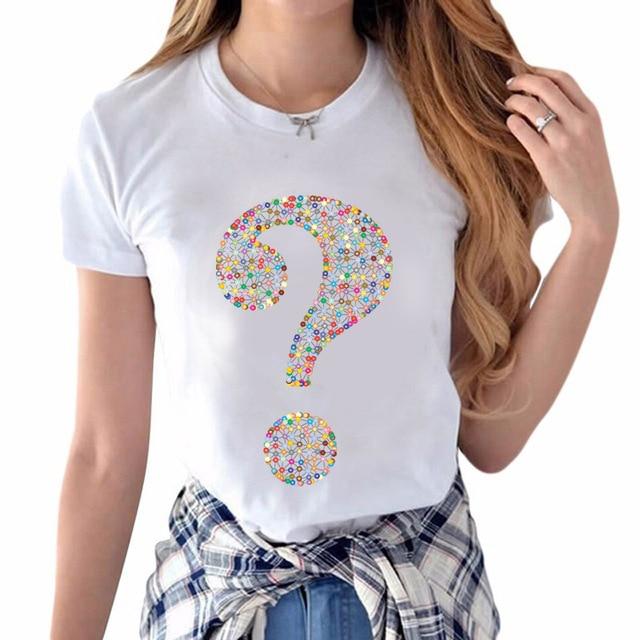 30b93dce3e2 2018 Plus Size 6XL 5XL Harajuku Geometric Question Mark Print Women T Shirt  Short Sleeve Loose O-Neck Female Tshirt Tops