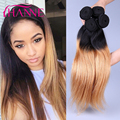 6A Ombre Brazilian Straight Hair 3 Bundles T1B 27 Ombre Honey Blonde Color Brazilian Virgin Hair Ombre Straight Hair Extensions