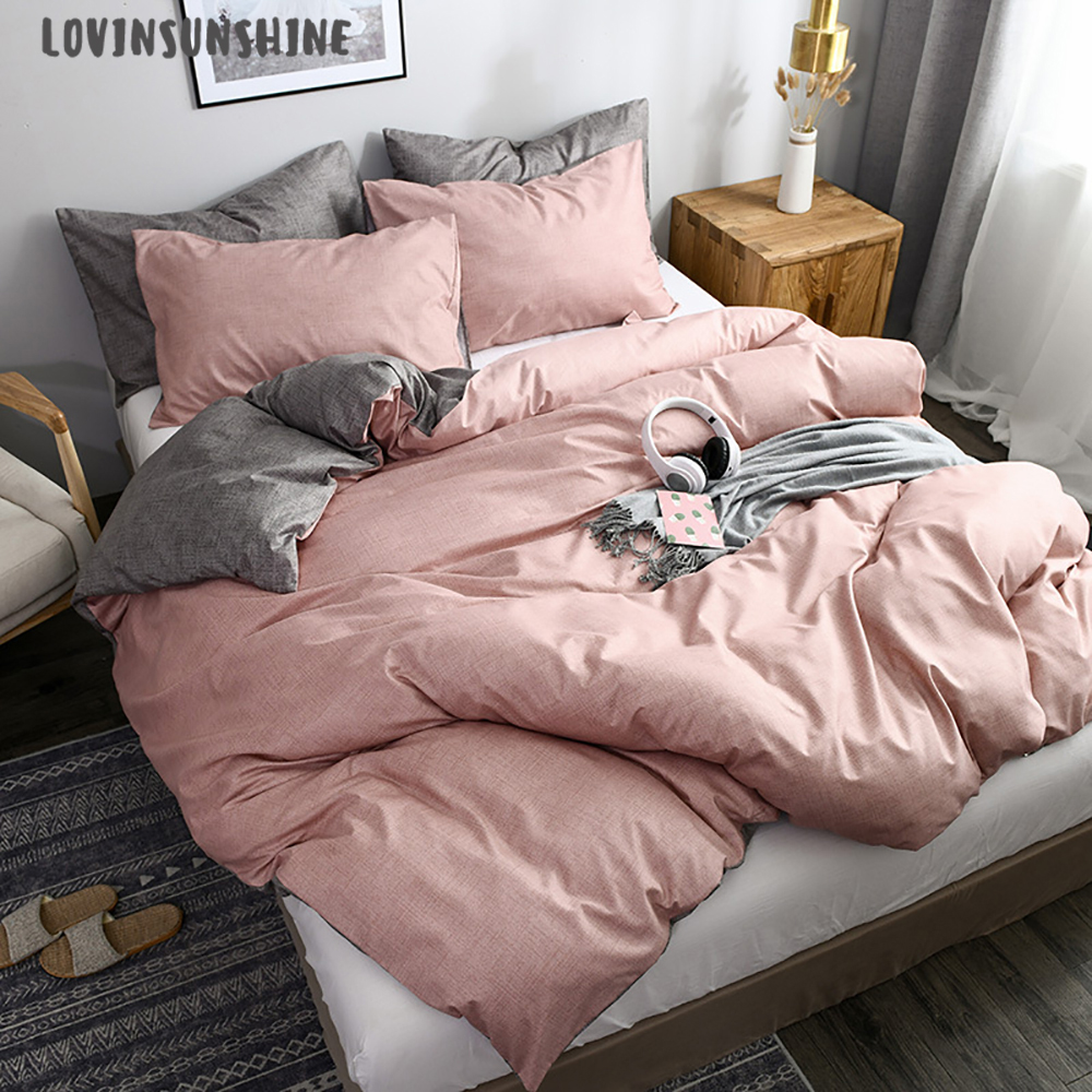 LOVINSUNSHINE Duvet Cover King Size Queen Size Comforter Sets Solid Color Pink Bedding Set AB#178
