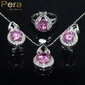De moda de Corea Ladies Estilo Simulado CZ Diamond Plata de Ley 925 joyería 3 Unids Rosa Negro Piedra De Cristal Establece Para Las Mujeres J001