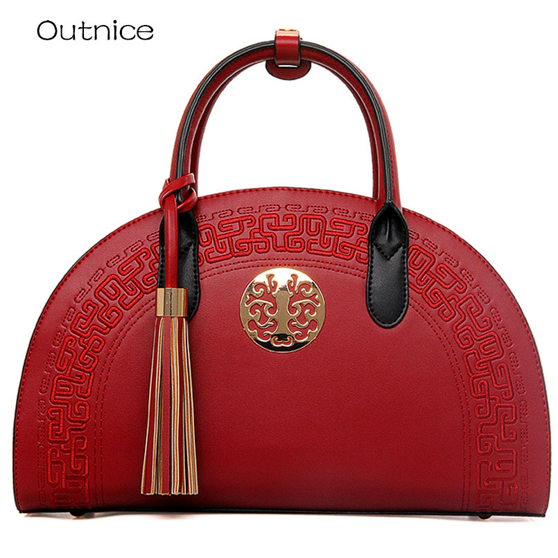 Luxury Embossing Ladies Designer Handbag High Quality Top-handle Bags Handbags Women Famous Brands Tassel Shoulder Messenger Bag yingpei women handbags famous brands women bags purse messenger shoulder bag high quality handbag ladies feminina luxury pouch