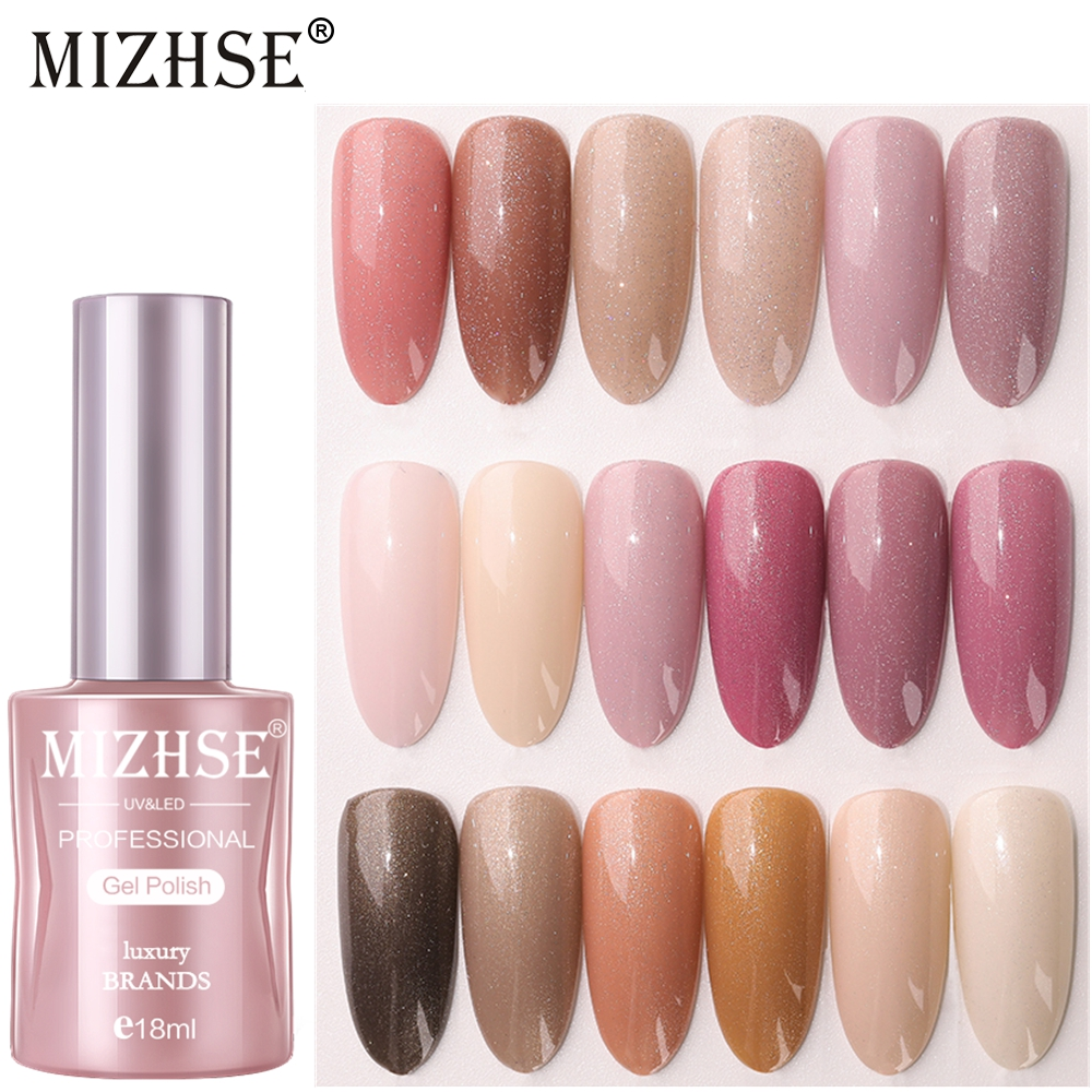 MIZHSE 18ML High Gloss Nail Gel Polish Color Glitter Nail Polish Gradient Mirror Nail Varnish Need Lamp for Nail Art Nail Primer