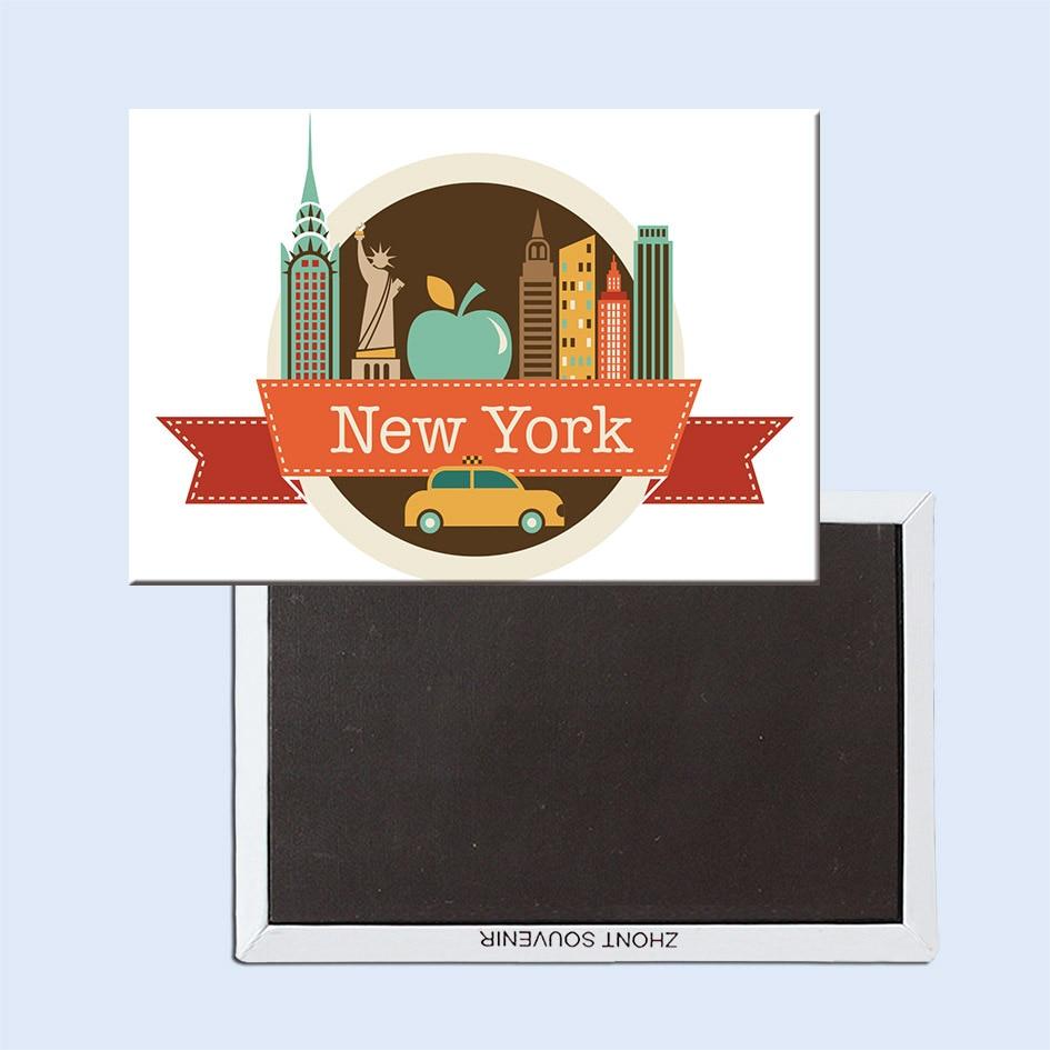 USA Cestovní Magnety Dárky, New York Cartoon Ilustrace NY, USA Souvenir Fridge Magnet 5697