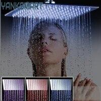 YANKSMART Shower Head Luxury Chrome Brass LED Square Rain Shower Head Top Over Shower Sprayer For 8 /10 /12 /16 /20 /24