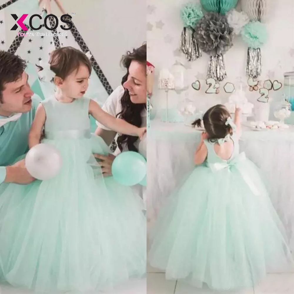 Cute Mint Tulle   Flower     Girl     Dresses   2018 Heart Cut Out Back Bow Ball Gown For Weddings Communion Birthday Party Prom Gown