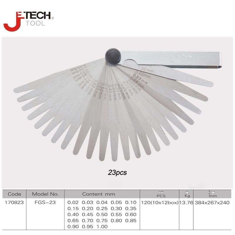 Jetech nástroj 23 kusů čepele pružiny ocelové go-on-go master měřič měřidlo sada 0,02-1 mm mezera výplň nástroj pro měření tloušťky
