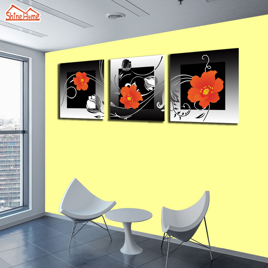 ShineHome 3pc Simple Red Flower Wall Canvas Painting Triptych ...