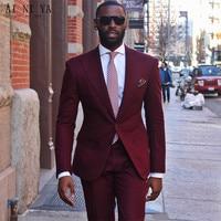 Những người đàn ông mới suits wedding suits Burgundy Phu Quân Tuxedo Custom Made Phù Rể Hiện Đại Hai Nút Men Áo Chú Rể (Áo + quần)