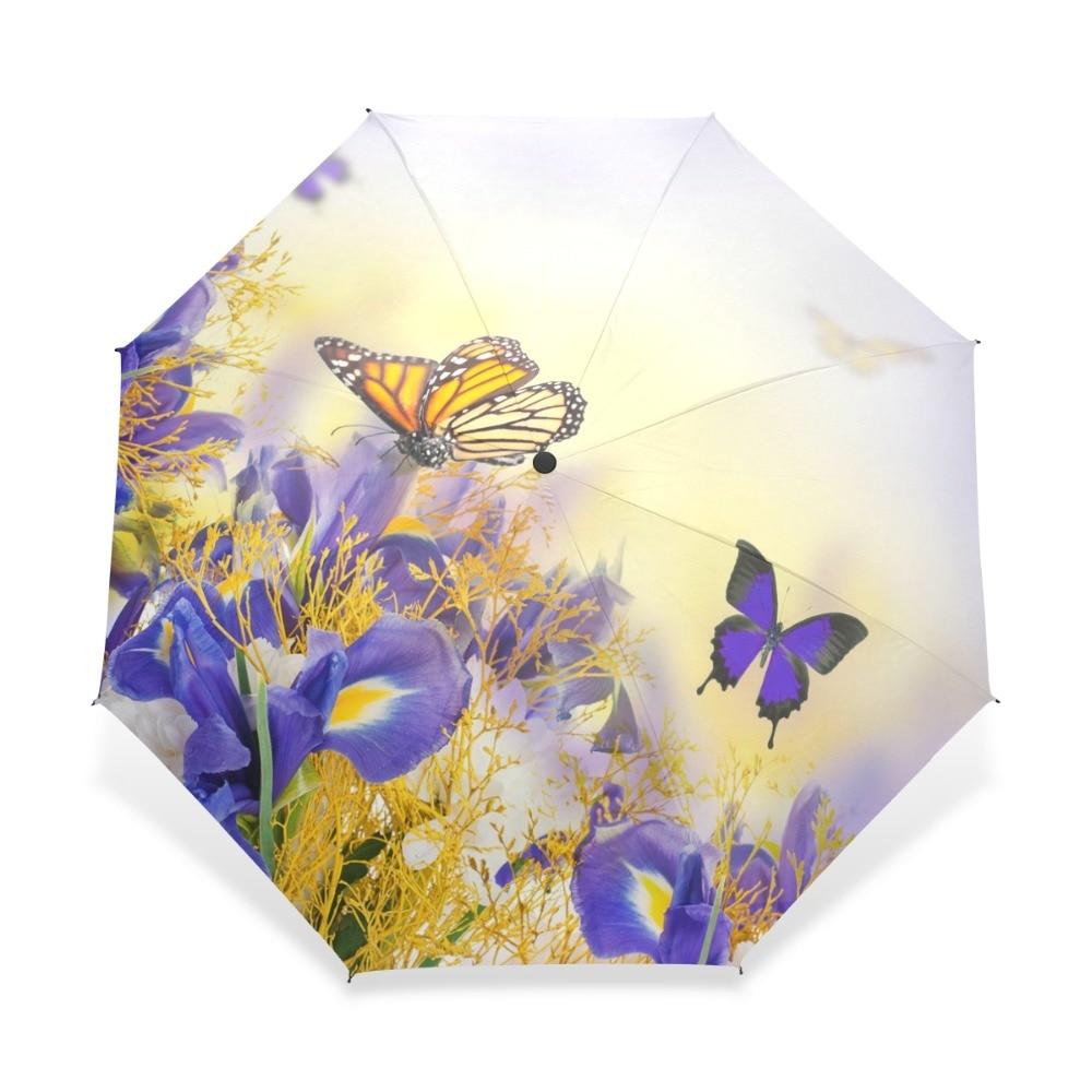 Kreativer Schmetterling Mit Blume Drei Taschenschirm UV Marke Regenschirm Regen Frauen Pongee Regen Gang Für Kind Mädchen