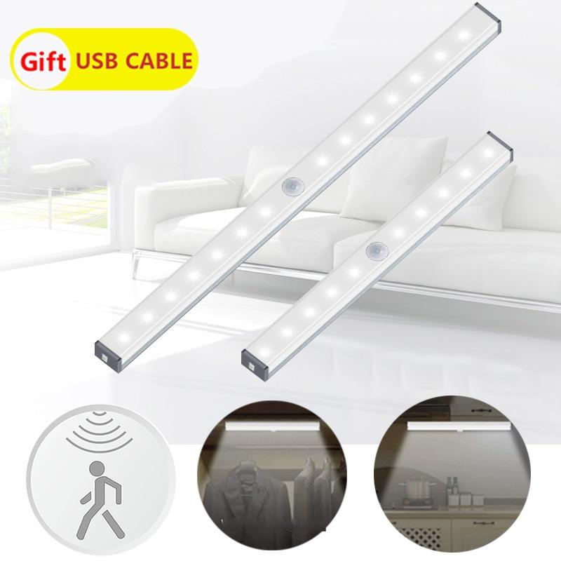 PIR Motion Sensor Under Cabinet Light LED Strip Home Night Lamp Closet Led Bar Stairs Wardrobe Light Kitchen Lighting Magnet Led