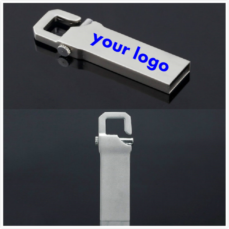 10pic lot Customized logo USB flash drive Metal USB 2 0 Memory Stick PenDrive 8G 16G