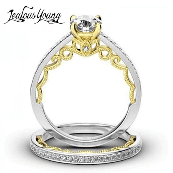 2 Teile/satz Kristall Exquisitive Luxus Engagement Ring Rose Gold Farbe Hochzeit Ringe Für Frauen Mädchen Geschenk Schmuck Ring Set SchüTtelfrost Und Schmerzen