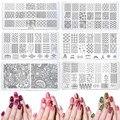 20 estilos Nail Art Sello Estampado de Placa de la Imagen 6*12 cm Plantilla Stencil Herramientas de Manicura de Uñas de Acero Inoxidable