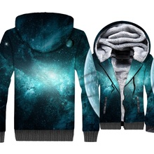 men thick long sleeve wool liner coats color starry sky 3D lifelike print hooded tracksuit sweatshirt 2018 winter casual jackets casual thick wool liner hip hop jackets men punk fashion coats long sleeve hooded clothes the superhero 3d print sweatshirt 2019