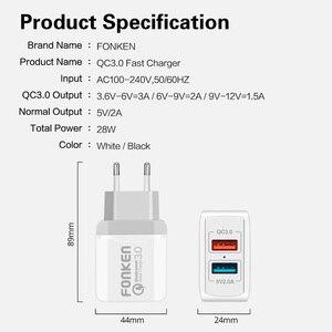 Image 5 - FONKEN podwójna ładowarka USB 28W szybkie ładowanie 3.0 QC3.0 szybka ładowarka do telefonu 2 Port przenośny ścienny adapter do Androida tablet mobilny