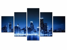 Wholesale Canvas Printings City Landscape 5 Piece Modern Style Cheap Pictures Decorative Wall Art Framed Prints Gift/City-106
