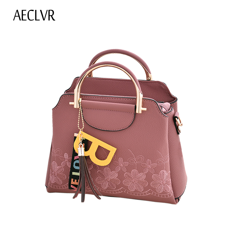 AECLVR Fashion Embroidery Women Handbag Tassel Decor PU Leather Women Shoulder Bag Female Designer Women Crossbody Bag Feminina