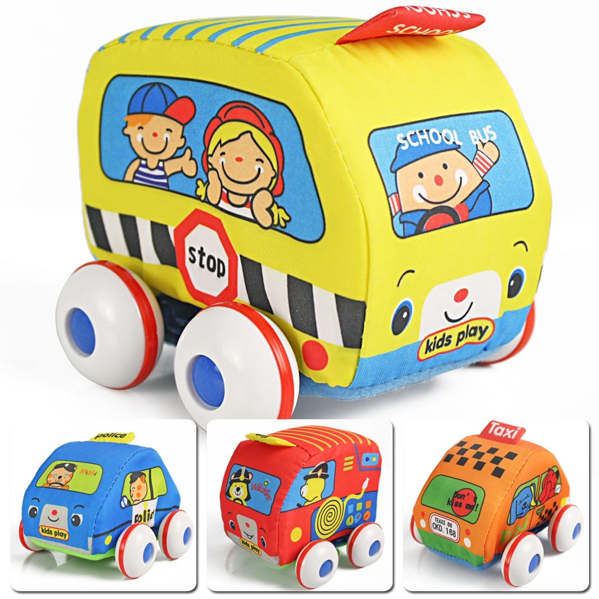 Toy car cartoon sponge WARRIOR car police car fire truck school bus toy set