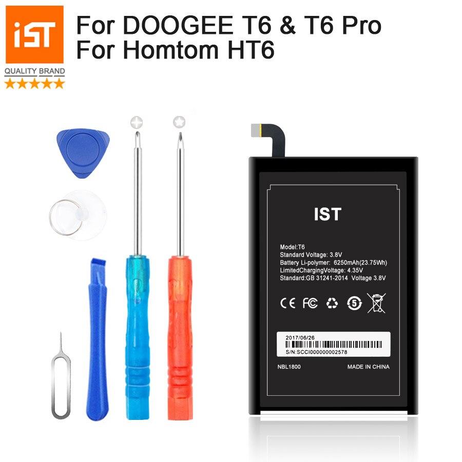 imágenes para 2017 Nuevo 100% IST Original HT6 Batería Del Teléfono Móvil Para Doogee T6 Pro Homtom HT6 Real 6250 mAh Reemplazo de la Alta Calidad batería