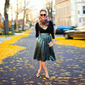 Las Faldas de lentejuelas Una Línea de Longitud de La Rodilla de la Cremallera Falda de Midi con Bolsillo Lateral de Diseño Especial Por Encargo de Otoño Las Faldas De Moda Para Mujer