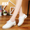 HKR 2017 spring women oxfords shoes genuine leather casual shoes women soft leather flats boat shoes moccasins white shoes 221