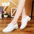 Hkr 2017 primavera mulheres oxfords sapatos de couro genuíno sapatos casuais mulheres sapatos flats barco sapatos mocassins de couro macio branco 221