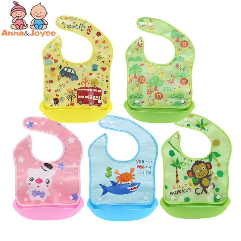 Newborn Baby Bibs Waterproof Baby Aprons Bib Infant Saliva Towels Cute Baby Cartoon Bib Baby Slabbetjes Plastic EVA Baberos Bebe cartoon lion pattern waterproof bib green yellow