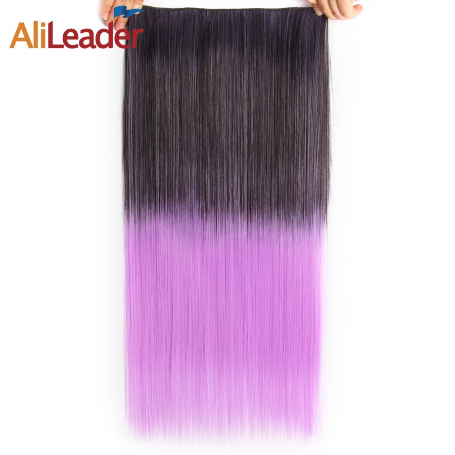 Alileader Long Hair Clip in on Hair Extensions Ombre Rainbow color Women Synthetic 5 Clips In hairpiece Natural Fake Hair Piece