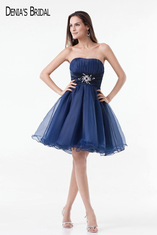 2017 robes de soirée courtes en Organza bleu avec Appliques perlées décolleté chérie au-dessus des robes de bal au genou